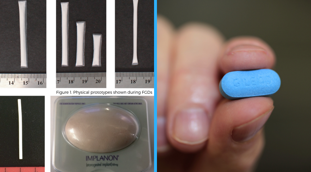 (left) physical implant prototypes shown during focus group discussions and (right) pre-exposure prophylaxis Truvada pill