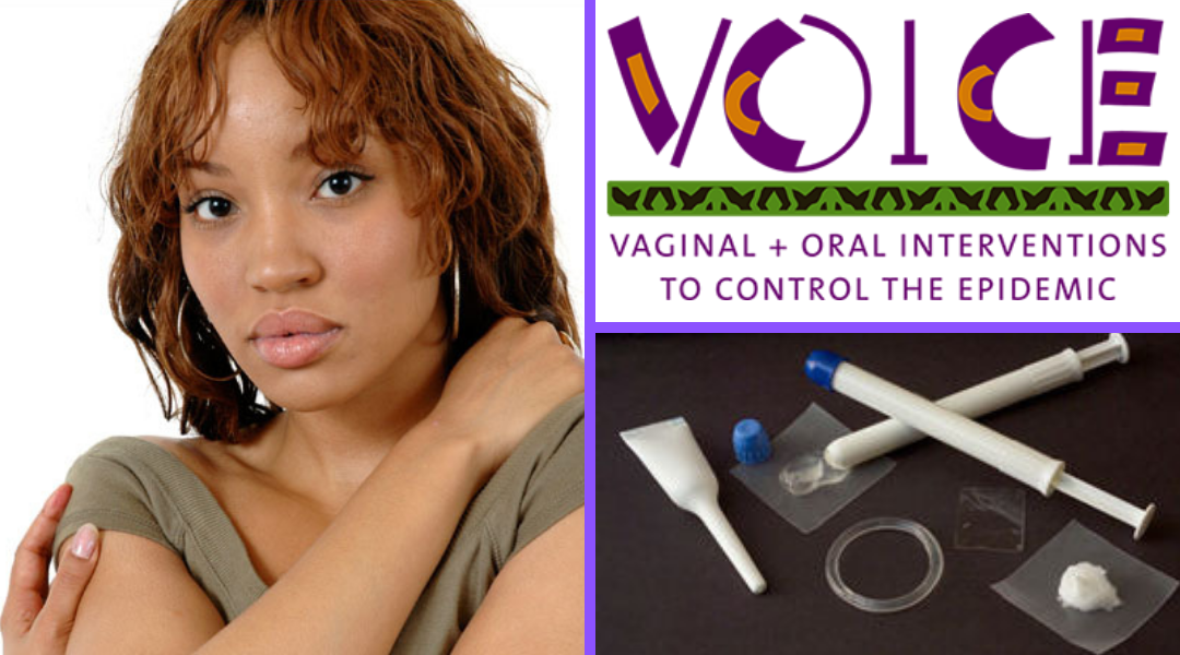 VOICE study logo, young African woman, and vaginal gel