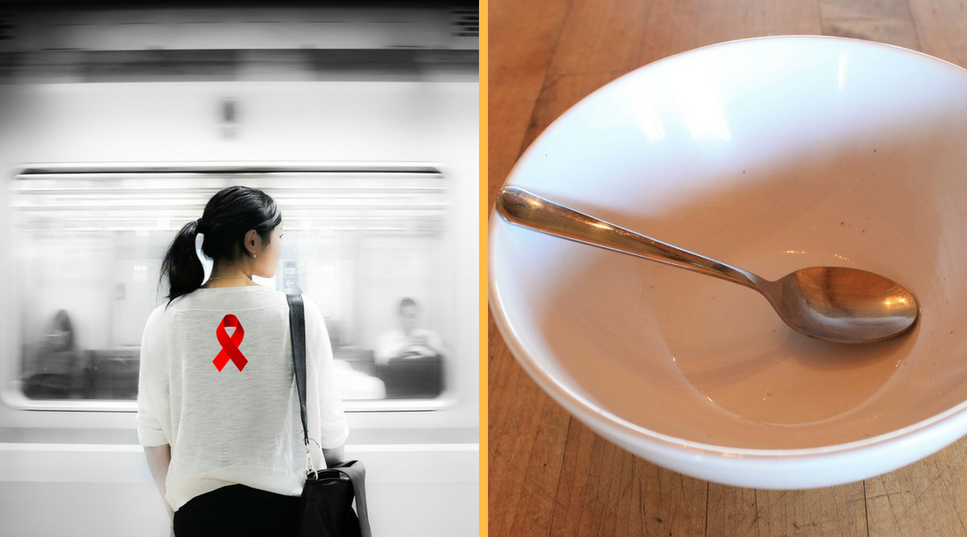 Left is Woman waiting for subway train to stop and right is empty bowl with spoon