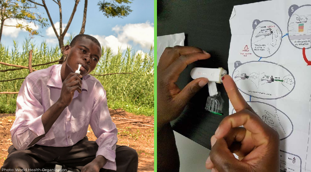 left is Kenyan young man swabbing his mouth for HIV self-test kit and right is self finger prick for HIV blood test
