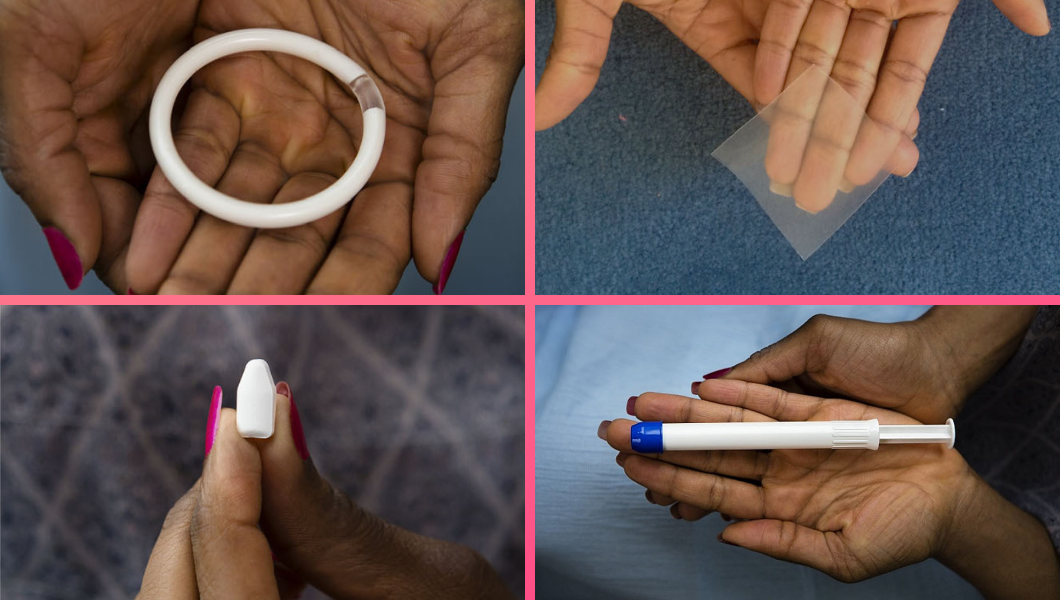 Quatro study products, all placebo. Clockwise from top left: Polyurethane vaginal ring, vaginal film, vaginal gel (inside applicator), vaginal insert