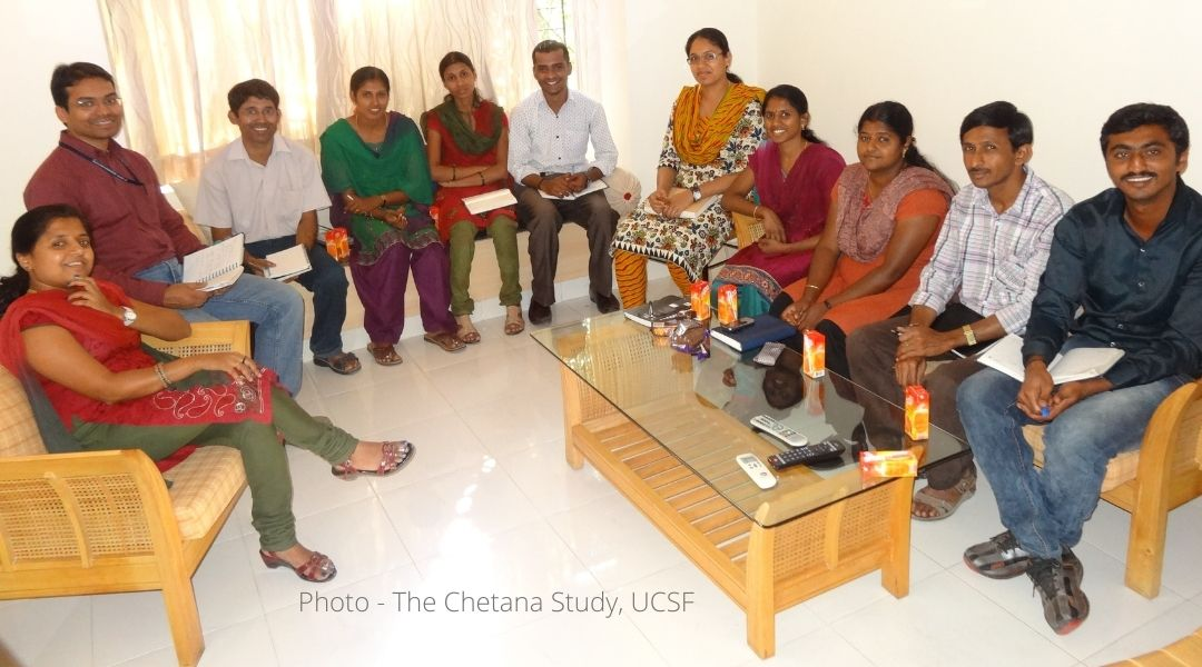 A photo of the Chetana study employees, volunteers and participants