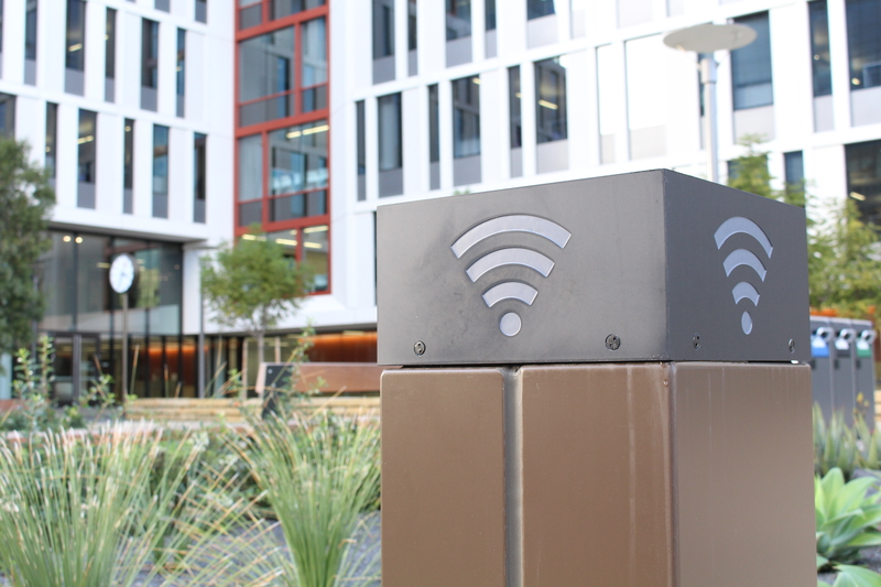 A wifi hotspot box located at Mission Hall