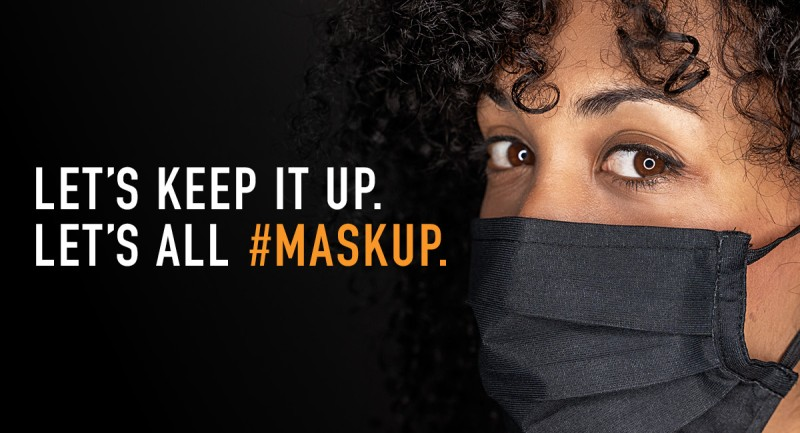 A promotional flyer for the mask up campaign. COVID19